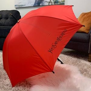 Yves Saint Laurent YSL red vintage umbrella